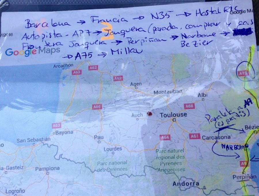 Mapa de ruta desde Barcelona a Millau